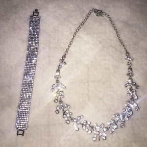 2 piece Silver Rhinestone Diamond Set